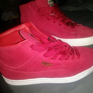 Puma Shoes   Red Suede High Tops   Poshmark
